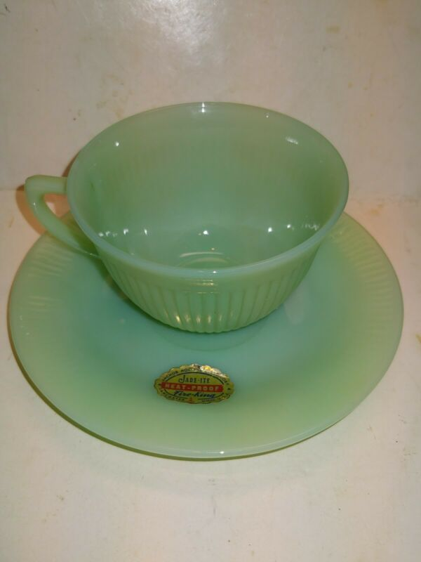 Vintage 40s/50s Fire-King Jadeite Jane Ray Saucer,Factory Sticker,Tea Cup,Green