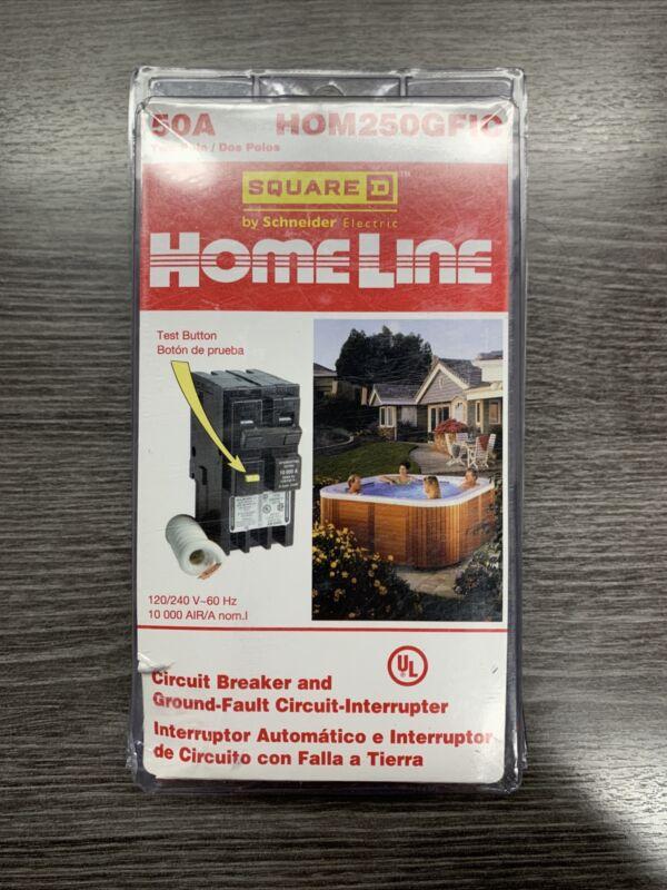 NEW Square D Homeline 50A Two Pole Circuit Breaker & GFCI HOM250GFIC