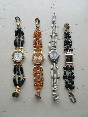 Lot 4 Handmade Custom OOAK Beaded Gemstone Watches Amber Hematite Howlite Small ()