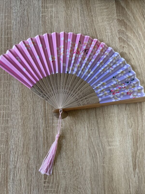chinese hand fan foldable pink purple floral flower