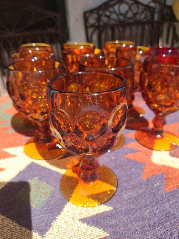 10 Vintage Indiana Imperial Provincial Dark Amber Juice Wine Goblet Glasses Set