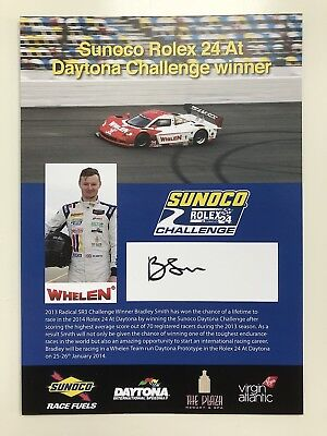 BRADLEY SMITH SIGNED SUNOCO ROLEX 24 DAYTONA CHALLENGE WINNER OFFICIAL PHOTOCARD