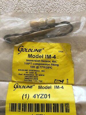 """Goldline 4YZ01 MODEL-IM-4 Immersion Temperature Sensor, 4"""". 1/4""""NPTx Comp. 10K"""