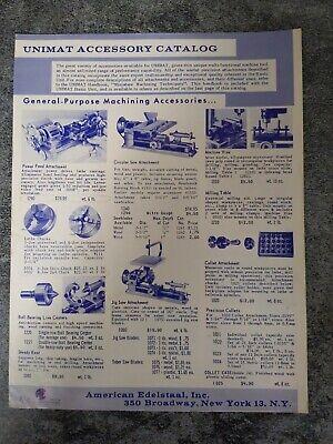 Vintage American Edelstaal Unimat Accessory Catalog Machining Tools 1966