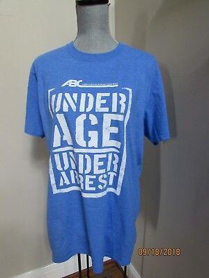 UNDER AGE UNDER ARREST Funny T-shirt Size L ABC Drunk Halloween Costume Blue - Drunk Halloween Costumes