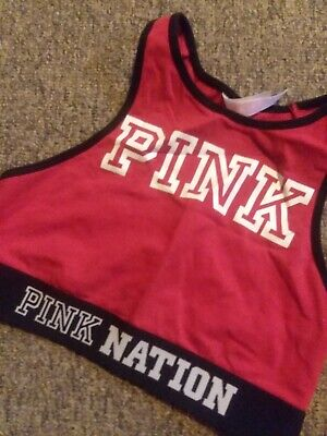 victoria secret pink pink nation high neck sports bra or crop top red