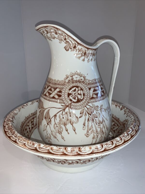 Edge, Malkin & Co. Victorian Pitcher And Wash Bowl Brown Pattern B Castile