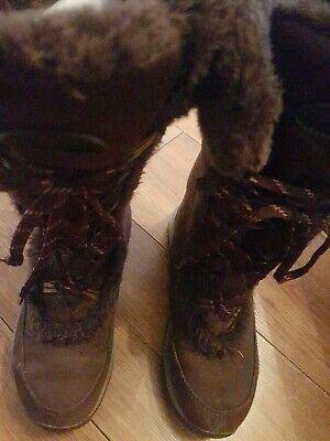 Khombu Women's Brown Satin Knee High Boots With Fur Tip UK Size 6 EU 39