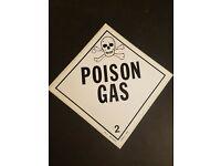 "VINTAGE ~ RARE ~ POISON ~ Skull /& Crossbones ~ NOS 4/"" Square Sign Sticker"