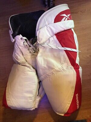 Reebok Ice Hockey Pants Model 7k White / Red Adult Large With Zipper Legs