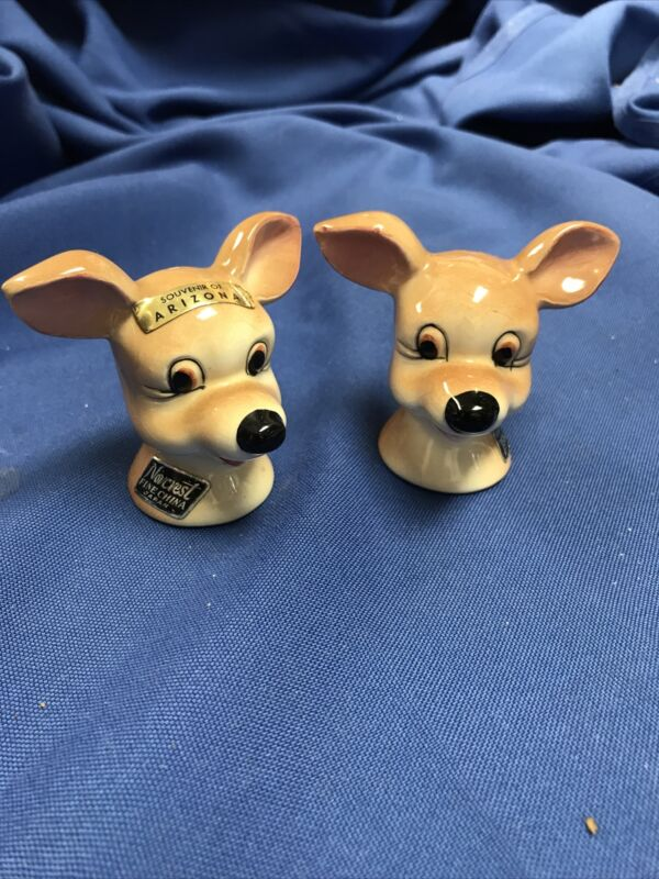 Adorable Norcrest Fine China Chihuahua Salt & Pepper Shakers