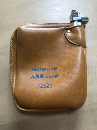 Vintage ANZ Bank Vinyl Cash Deposit Bag Purse with Lock & Key