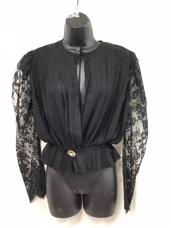 Rety Paris  Black Sheer Pleated Lace Jacket Bolero Shrug Cover-up Haute Couture