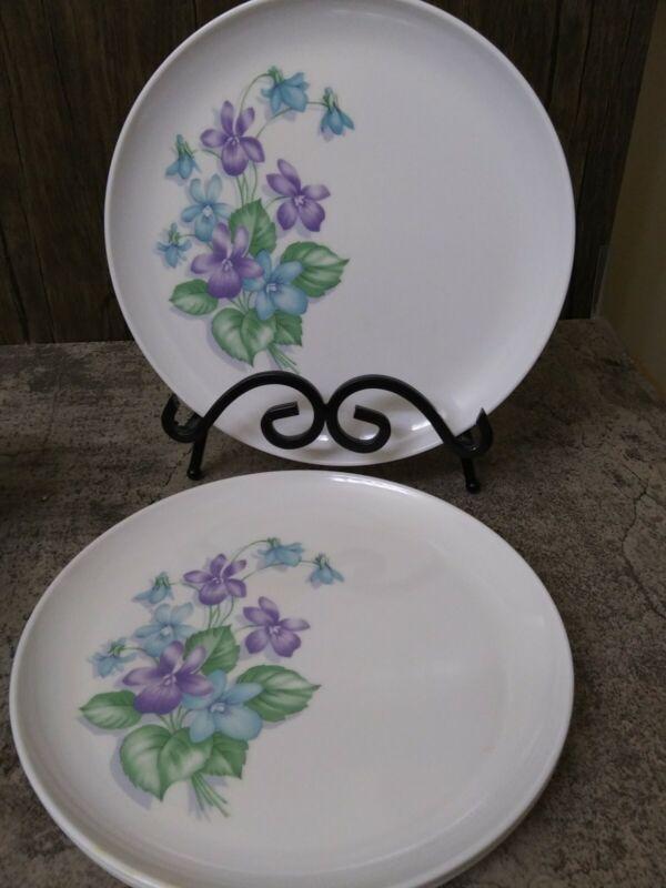 Vintage Royalon Melmac 4 Dinner Plates Purple Blue Floral Corsage Pattern
