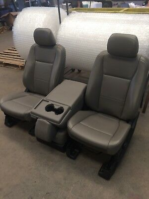 - FORD F250 F350 SUPER DUTY FRONT BUCKET SEATS NEW GREY OEM VINYL LEATHER SET KIT