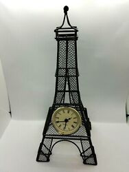 Eiffel Tower Quartz Table Mantle Clock Sturdy Wire Frame-New 1.5V Size N Battery
