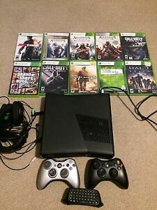 Xbox 360 with headset and games