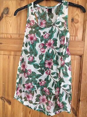 BNWOT Ladies Pretty Sheer Floral Racer Back Style Sleeveless Top Size L ()