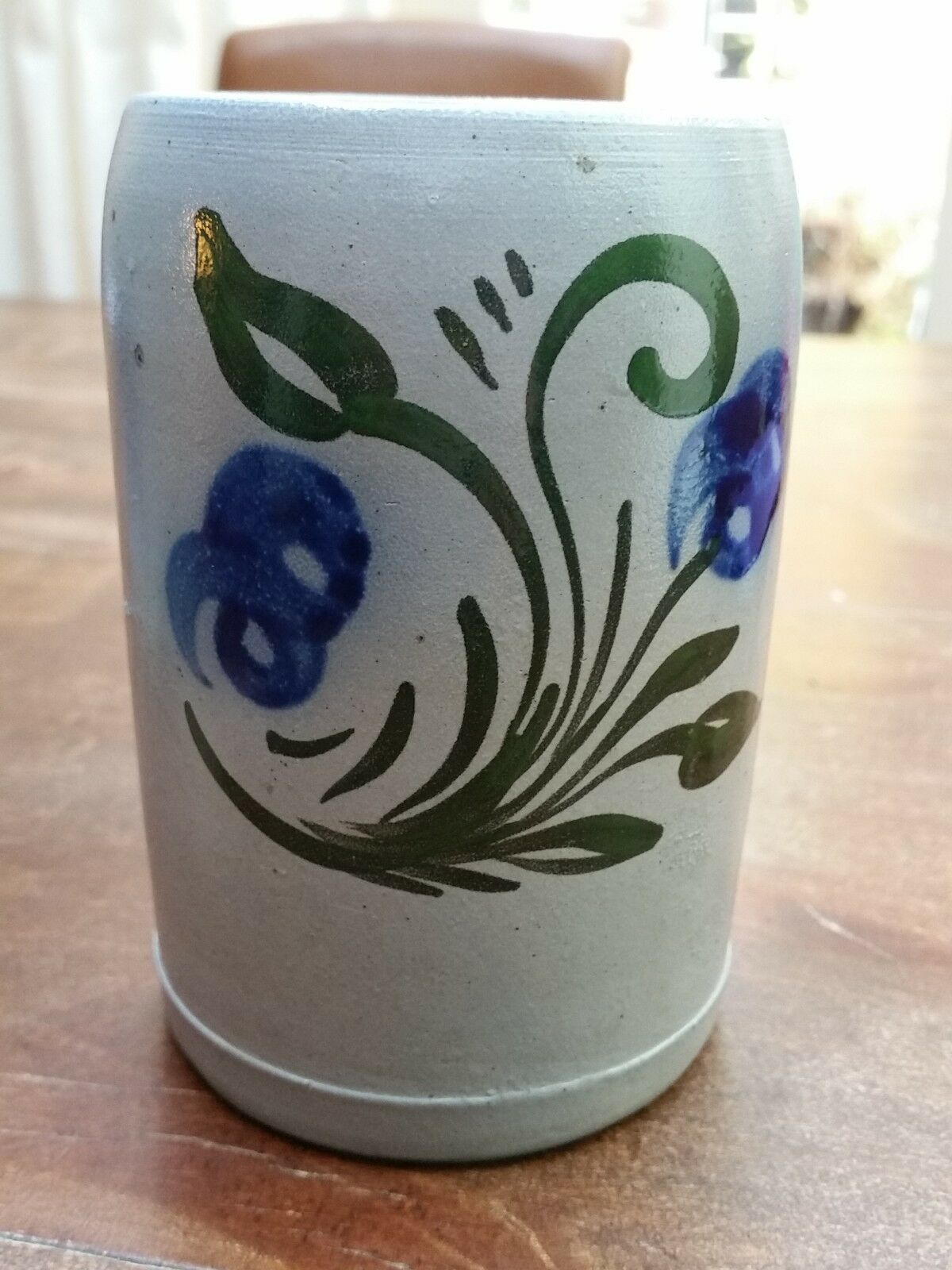 VINTAGE GERMAN SALT GLAZED 0.5L BEER MUG STEIN, COBALT &GREEN & GRAY 4.7