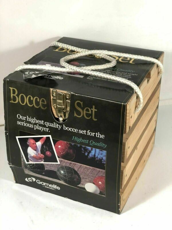 Sportcraft Game Life Bocce Ball Set In Wooden Crate New Sealed Rope Handles Nice