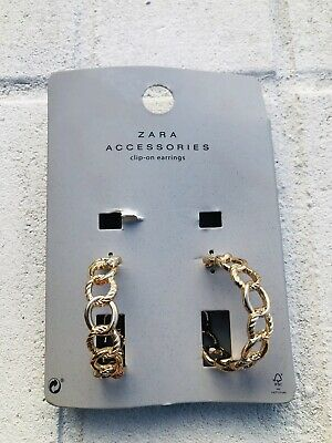 New ZARA Gold Metallic Chain Earrings Fashion Sexy Style  Read Note* J58