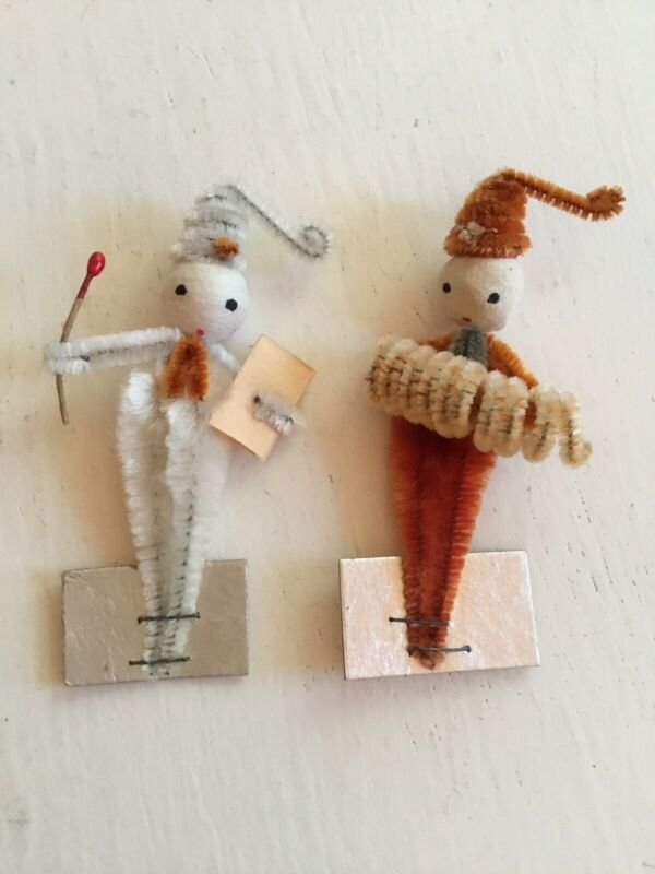 Vintage Christmas Chenille Elves Tie Ons Stand Up Figures  Mr. And Mrs. JAPAN