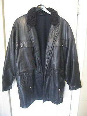 FABULOUS Vtg 90s GIANNI VERSACE Men's Black Leather Jacket Italy sz 50 US 2XL