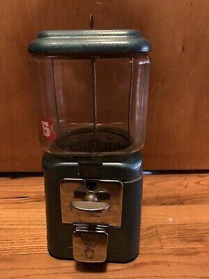 Nice Blue Antique 5 Five Cent Oak Acorn Glass Globe Gumball peanut Machine WORKS