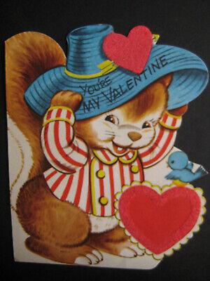 1950s Hats: Pillbox, Fascinator, Wedding, Sun Hats 1950s vintage greeting card flat school VALENTINE Squirrel w/ Hat Flocked Hearts $3.50 AT vintagedancer.com