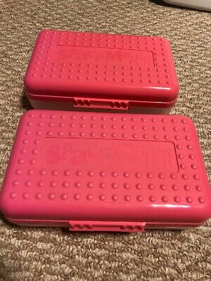 X2 Spacemaker Plastic Pencil Desk Storage Box Pink Semi Clear 8 X 5 Vintage