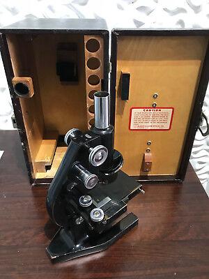 Bausch Lomb Binocular Microscope W Lens Accesories Luggage Case Vintage