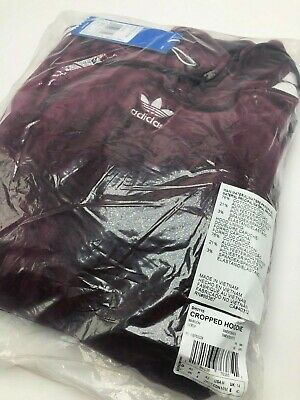 WOMENS ADIDAS ORIGINALS VELOUR CROPPED HOODIE MAROON, DH3115, Sz XS - -
