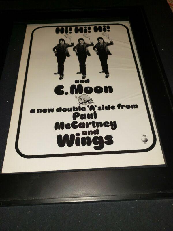 Paul McCartney Wings Hi Hi Hi Rare Original Promo Poster Ad Framed!