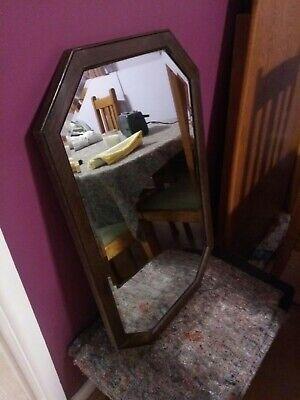 Vintage Octagonal Oak Framed Bevelled Glass Mirror