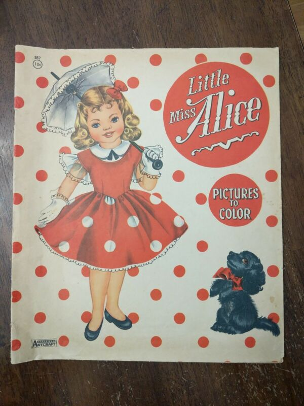 1957 LITTLE MISS ALICE Coloring Book - SAALFIELD Artcraft Pictures to Color Used