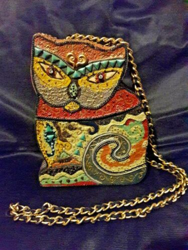 Cat Purse hard schell by Mary Frances in Laurel Burch Style, Whimsicle Cat Purse