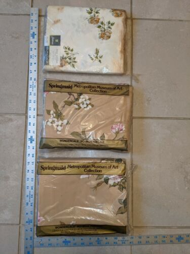 Springmaid Metro Museum Art_Songbirds_Queen_Fitted&Flat Sheets +extra vintage