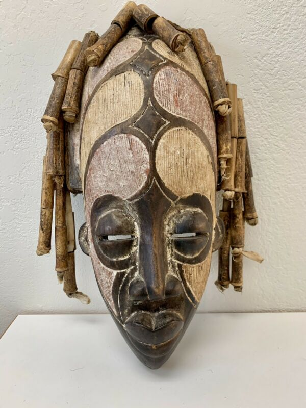 """Vintage 17"""" Authentic African Tribal Carved Mask with Bamboo Beads for """"Hair"""""""