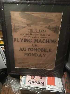 1911 Vintage Flying Machine And Automobile Newspaper Ad FRAMED FREE LOCAL PICKUP