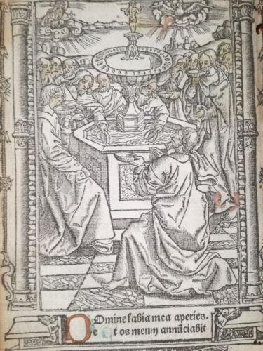 Book of Hours Leaf Vostre Horae Miniature Domine labia Paris 1501