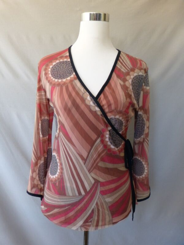 Sweet Pea by Stacy Frati Tan Red Black Caramel Faux Wrap Bell Sleeve Top Sz M *