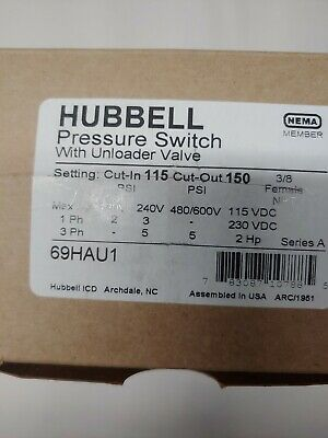 Hubbell 69hau1 Pressure Switch 24 Amp 115-150 Psi 1 Port 14w Unloader