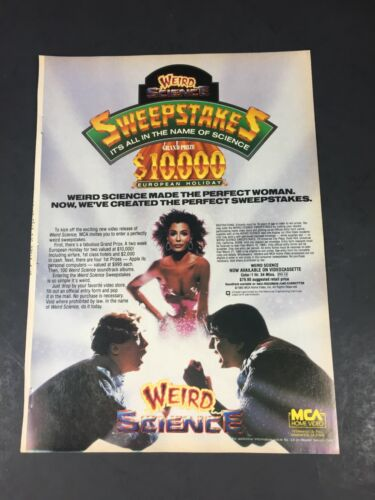 Vintage 1985 Print AD MCA Video poster Advertisment WEIRD SCIENCE Kelly LeBrock