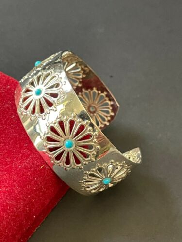 Vintage silver tone openwork flower with faux turquoise cuff bracelet BOHO