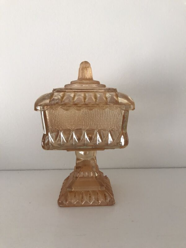 Vintage Jeanette Peach Wedding Cake Pedestal Lidded Square Candy Dish