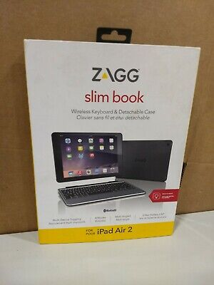 ZAGG Slim Book Ultrathin Case Hinged&Detachable Bluetooth Keyboard Apple Air 2