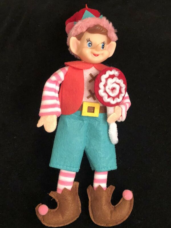"""NEW CHRISTMAS PIXIE ELF 11"""" DECORATIVE DOLL GREEN & PINK """"LOLLIPOP GUILD"""" STYLE"""
