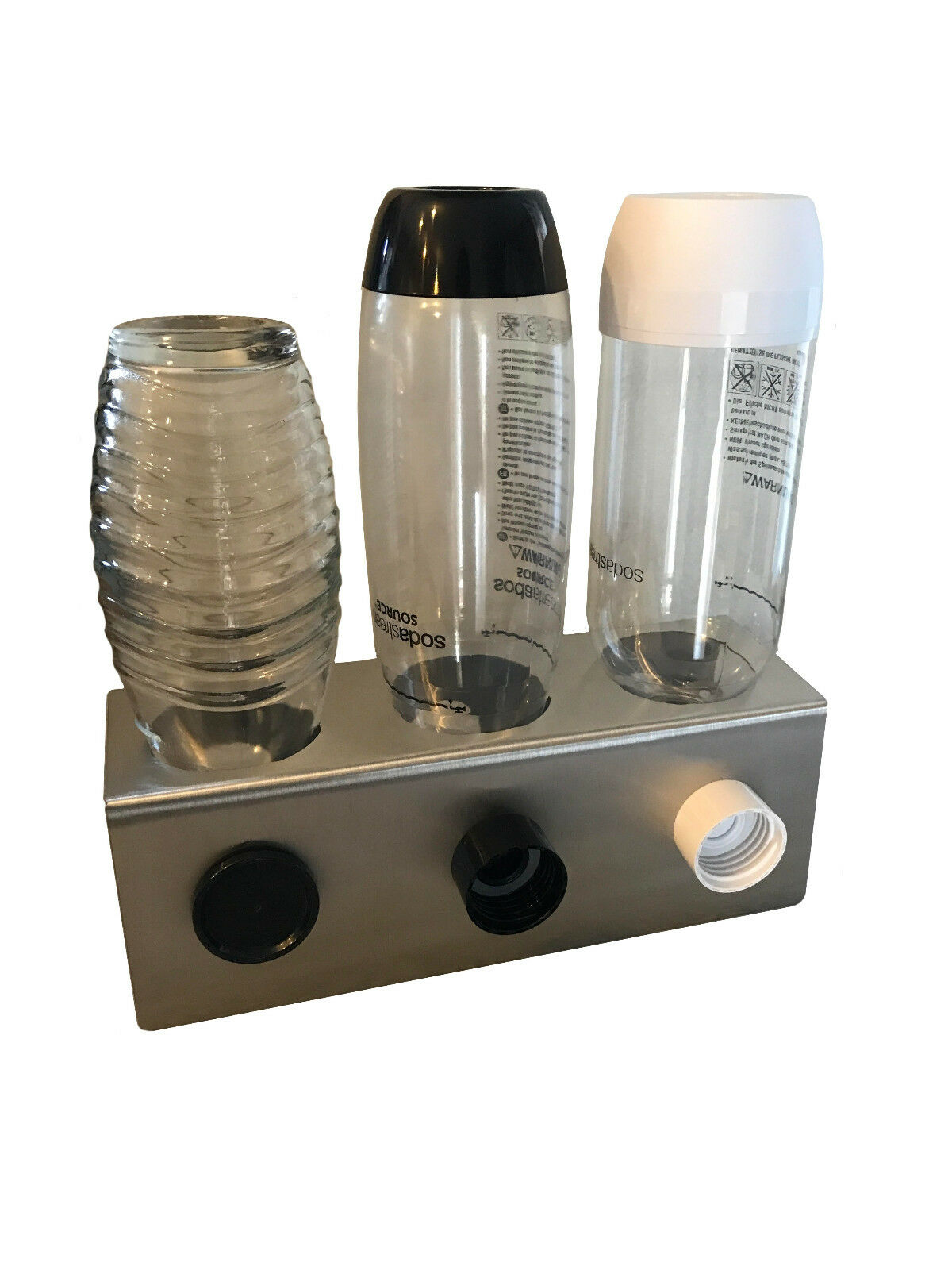 3er Abtropfhalter aus Edelstahl z.B. Sodastream Crystal Flaschen Flaschenhalter