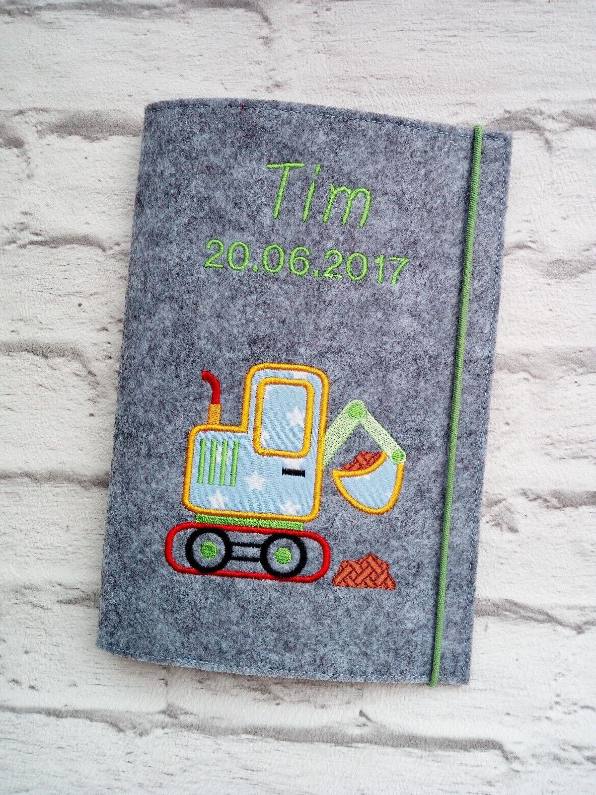 3 in 1 U Heft Hülle ❤ Untersuchungsheft ❤ Filz ❤ Bagger grün ❤ personalisiert