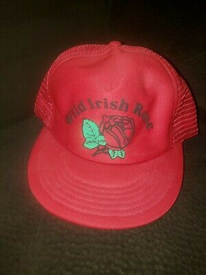 Vintage Wild Irish Rose Trucker Mesh Snapback Hat Cap Red  Rose Trucker Hat